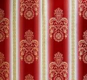 Modelo de la tapicería adornada roja y blanca retra Imagen de archivo