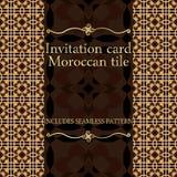Modelo de la tarjeta de la invitación con el ornamento islámico de Marruecos Fotos de archivo