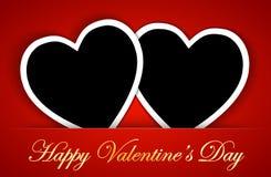 Modelo de la tarjeta de las tarjetas del día de San Valentín con los marcos en blanco de la foto en la parte posterior del rojo Imagen de archivo libre de regalías