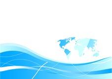 Modelo de la tarjeta de visita - concepto global en azul Stock de ilustración