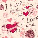 Modelo de la tarjeta del día de San Valentín con los corazones Foto de archivo