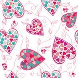 Modelo de la tarjeta del día de San Valentín con los corazones del amor. Fotografía de archivo libre de regalías