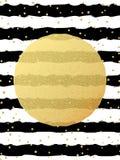 Modelo de la tarjeta de felicitación Confeti de los puntos de la hoja del brillo del oro en fondo blanco y negro rayado EPS 10 ilustración del vector