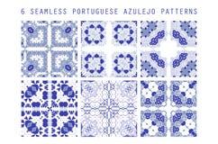Modelo de la teja del vector, mosaico floral de Lisboa ilustración del vector