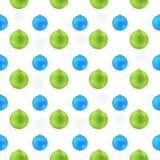 Modelo de las bolas de la Navidad de la impresión azul y verde ilustración del vector
