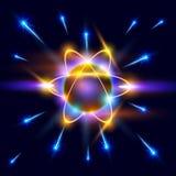 Modelo de las chispas del átomo y del azul stock de ilustración