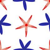 Modelo de las estrellas de mar rojas y azules stock de ilustración