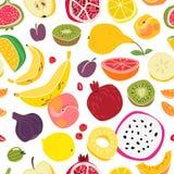 Modelo de las frutas Historieta colorida linda natural de la materia textil del verano de la comida fresca de la impresión incons stock de ilustración