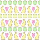 Modelo de las galletas de Pascua, tarjeta - conejito de pascua, flores, corazones