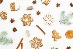 Modelo de las galletas del pan de jengibre de la Navidad, de las ramas del abeto y del anís en el fondo blanco Endecha plana Visi Fotos de archivo libres de regalías