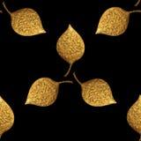 Modelo de las hojas Fondo inconsútil pintado a mano del oro Ejemplo de oro de la hoja abstracta Fotos de archivo
