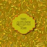 Modelo de las ramitas del Tansy Fondo de oro del otoño del pistacho Etiqueta del texto del vintage Foto de archivo libre de regalías