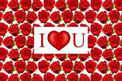 Modelo de las rosas de la tarjeta del día de San Valentín Foto de archivo libre de regalías