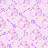 Modelo de las tarjetas del día de San Valentín Textura inconsútil del vector lindo con los corazones y las llaves en colores en c Imagen de archivo