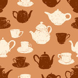 modelo de las tazas de té y de las teteras stock de ilustración