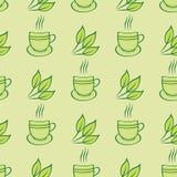 Modelo de las tazas y de las hojas de té Foto de archivo