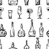 Modelo de los bosquejos de las copas de vino y de las botellas Foto de archivo