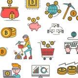Modelo de los iconos del concepto del blockchain, bitcoin, explotación minera del cryptocurrency Modelo del vector con la explota ilustración del vector