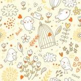 Modelo de los pájaros y de flores Foto de archivo libre de regalías