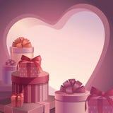 Modelo de los regalos de la tarjeta del día de San Valentín Foto de archivo libre de regalías
