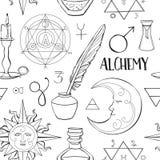 Modelo de los símbolos de la alquimia ilustración del vector