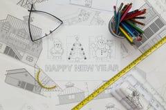 Modelo de los símbolos de la Navidad y del Año Nuevo Imágenes de archivo libres de regalías