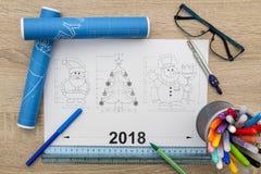 Modelo de los símbolos del Año Nuevo Imágenes de archivo libres de regalías