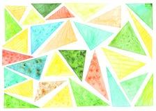 Modelo de los traingles del colorfull de la acuarela en el fondo blanco imágenes de archivo libres de regalías