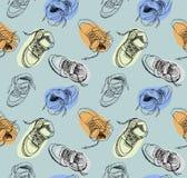 Modelo de los zapatos de las zapatillas de deporte del dibujo de la mano libre illustration