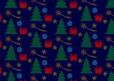 Modelo de lunares inconsútil de la Navidad con el árbol, los cometas de la Navidad, las estrellas y los regalos Foto de archivo