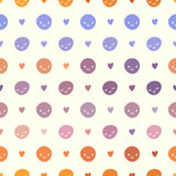 Modelo de lunares inconsútil del bebé del vector con smiley Colores rosados, violetas, anaranjados y blancos Imágenes de archivo libres de regalías