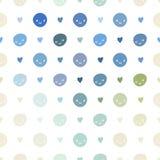 Modelo de lunares inconsútil del bebé del vector con smiley Rosado, azul, verde, turquesa y colores blancos Imagen de archivo