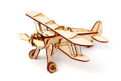 Modelo de madeira do avião no fundo branco Fotografia de Stock Royalty Free