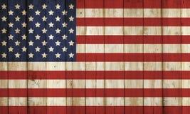 Modelo de madera de la bandera de With los E.E.U.U. de la cerca Foto de archivo