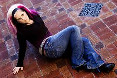 Modelo de manera punky de Goth Foto de archivo