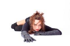 Modelo de manera que desgasta guantes negros largos Fotos de archivo