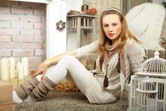 Modelo de moda con maquillaje Imágenes de archivo libres de regalías