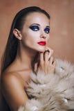 Modelo de moda de la belleza Girl adentro en un abrigo de pieles y una ropa interior Fotografía de archivo