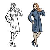 Modelo de moda de las mujeres con el dibujo del estilo del bosquejo del vector stock de ilustración