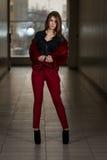 Modelo de moda del encanto Wearing Red Pants y chaqueta Fotos de archivo libres de regalías