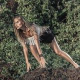 Modelo de moda del estilo del hippie Imagen de archivo