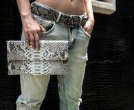 Modelo de moda elegante en sostener un bolso de embrague Modelo atractivo con el cuerpo perfecto cerca del chalet, vaqueros que l imagen de archivo