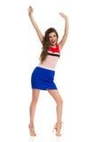 Modelo de moda emocionado In Mini Dress And High Heels Fotos de archivo libres de regalías