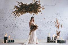 Modelo de moda en un vestido que fluye beige hermoso foto de archivo libre de regalías