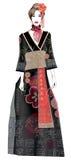 Modelo de moda en vestido del estilo del geisha Fotos de archivo