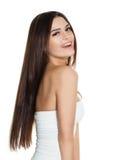 Modelo de moda feliz de la mujer Smiling en blanco Fotos de archivo libres de regalías