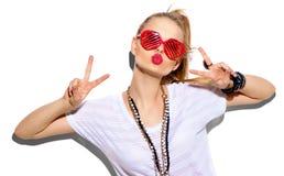 Modelo de moda Girl Presentación rubia elegante de la mujer de la belleza foto de archivo