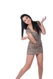 Modelo de moda hermoso en vestido del estampado de animales Imagen de archivo libre de regalías