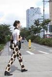 Modelo de moda Miranda Kerr después de un desfile de moda en Nueva York Imagenes de archivo