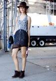 Modelo de moda Monika Jac Jagaciak después de un desfile de moda en Nueva York Foto de archivo